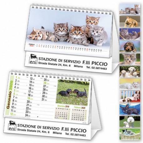 Art. 6651 Calendarietto da Tavolo Spirale Cani e Gatti